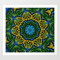 Lovely Healing Mandalas in Brilliant Colors: Hunter Green, Green, Navy, Light Blue, and Goldenrod Art Print