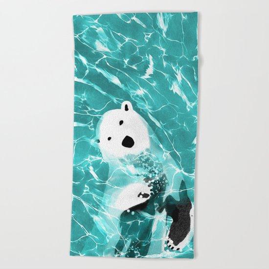 Playful Polar Bear In Turquoise Water Design Beach Towel