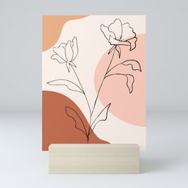 Poppies line drawing Mini Art Print