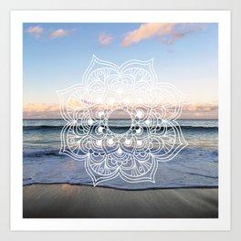 Flower shell mandala - shoreline Art Print