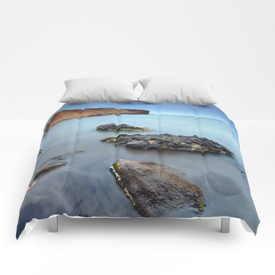 """Half Moon coast at blue hour"" Comforters"