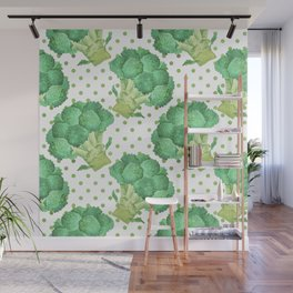 Broccoli on Green dotted Background Wall Mural