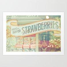 Hand-Dipped Strawberries Art Print