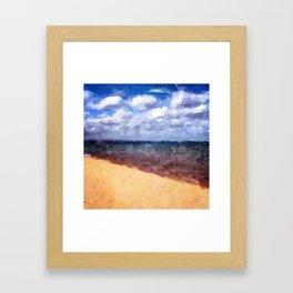Beach Under Blue Skies Framed Art Print