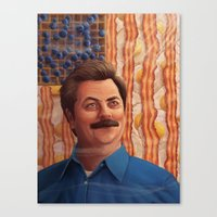 ron swanson Canvas Prints featuring Ron Swanson by Lydia Guadagnoli
