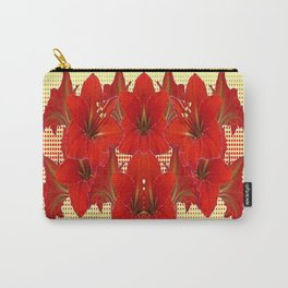 YELLOW CONTEMPORARY CLUSTER RED AMARYLLIS FLOWERS Carry-All Pouch