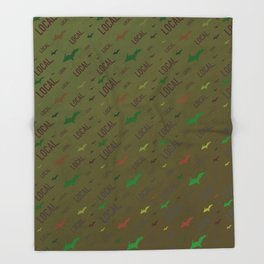 Local Upper Peninsula Forest Army Pattern Throw Blanket