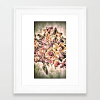 shabby chic Framed Art Prints featuring Shabby Charm Chic Roses by Joke Vermeer