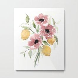 Watercolor-poppies-and-lemons Metal Print