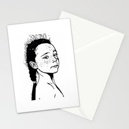 long hair kid Stationery Cards