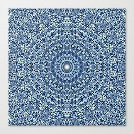 Light Blue Psychedelic Garden Mandala Canvas Print