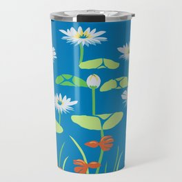 In the Shallows With White Water Lilies Travel Mug