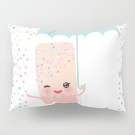 pink ice cream, ice lolly holding an umbrella. Kawaii with pink cheeks and winking eyes Pillow Sham