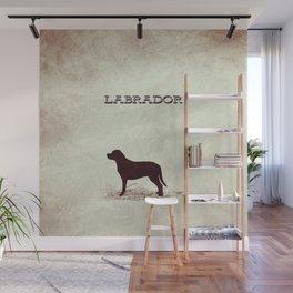 Retro Labrador Distressed Paper Wall Mural