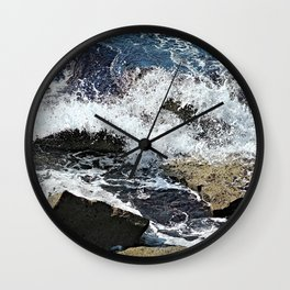 Sea Waves Crashing on Rocks Seascape Wall Clock