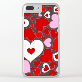 RED HEARTS ON WHITE HEARTS GREY Clear iPhone Case