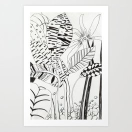 Patterned leaves revisited -line drawing plants Art Print