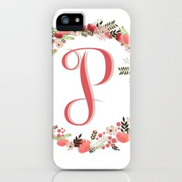Personal monogram letter 'P' flower wreath iPhone Case