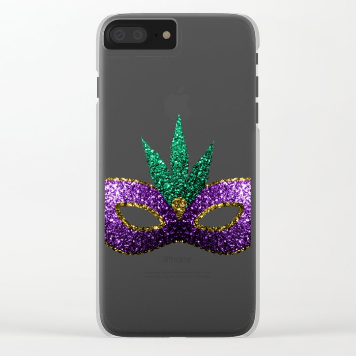 Mardi Gras Mask Purple Green Gold Sparkles Clear iPhone Case