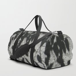 Grey shadows of green leaves Duffle Bag