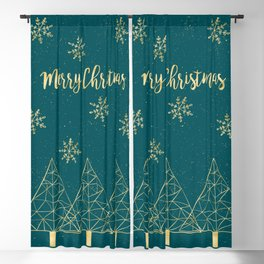 Merry Christmas Teal Gold Blackout Curtain