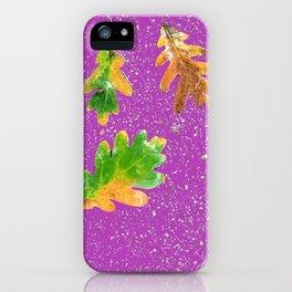 Oak leaves on purple terrazzo background iPhone Case