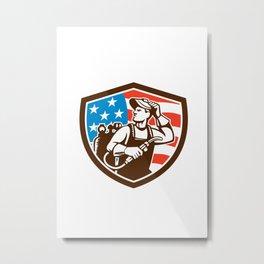 Welder Looking Side USA Flag Crest Retro Metal Print
