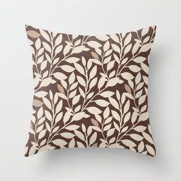 Leaves and Branches in Cream and Brown Throw Pillow