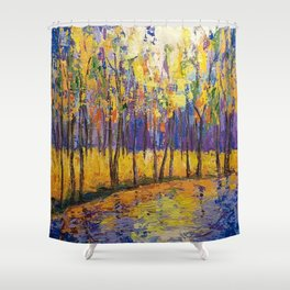Colorful Fall Trees Shower Curtain