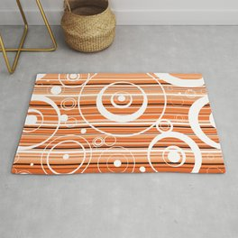 Colorful Striped Funky Retro Circle Pattern Rug