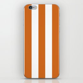 Cinnamon[citation needed] orange - solid color - white vertical lines pattern iPhone Skin