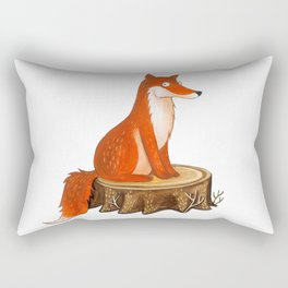 Silly Cute Fox, foxy, illustration, watercolor, wood, adorable, children, kid, decoratin Rectangular Pillow