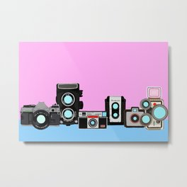 Cameras Pink and Blue Metal Print