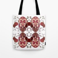 in the flesh Tote Bags featuring Flesh&Roses by AP Illustration