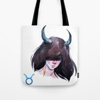 taurus Tote Bags featuring Taurus by Aloke Design
