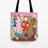 tenenbaums Tote Bags featuring Royal Tenenbaums Family Portrait  by AnaMF
