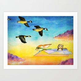 Herbert the Owl Considers Parachutes Art Print