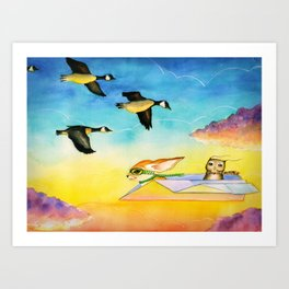 Herbert the Owl Considers Parachutes Art Print