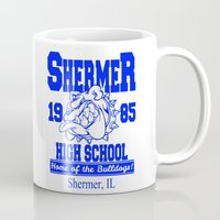 the breakfast club Mugs featuring The Breakfast Club  |  Shermer High School Logo  |  John Hughes Universe by Silvio Ledbetter