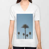 palm trees V-neck T-shirts featuring Palm Trees by Gerard Puigmal