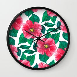 Pink Hibiscus Pattern Wall Clock