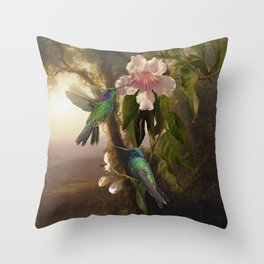 Sparkling Violetear Hummingbirds Throw Pillow