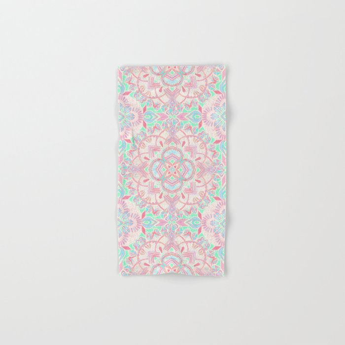Mint and Blush Pink Painted Mandala Hand & Bath Towel