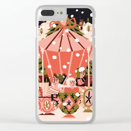 Christmas Coffee Carousel Clear iPhone Case