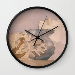 Watercolor Still Life in Purple and Yellow Wall Clock
