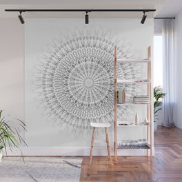 Light Grey White Mandala Wall Mural