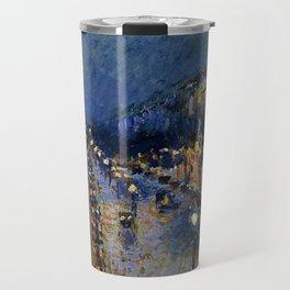 Boulevard Montmartre at Night by Camille Pissarro Travel Mug