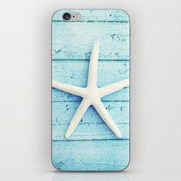Starfish Beach Photography, Aqua Blue Coastal Photograph, Turquoise Seaside Photo Print iPhone Skin