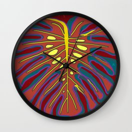 Monstera Flying to Autumn Wall Clock