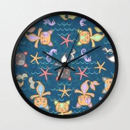 Mer Kitties Wall Clock